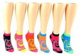 24 of Toddler Girl's Low Cut Novelty Socks - Tie Dye Print - Size 2-4