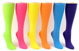 24 of Women's Novelty Knee High Socks - Solid Colors - Size 9-11