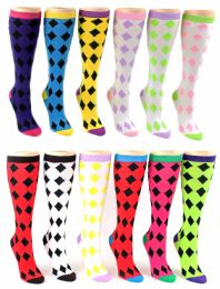 24 of Women's Knee High Novelty Socks - Argyle Print - Size 9-11