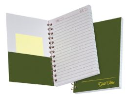 """36 of Tops Gold Fibre Personal Notebook, College Ruled, 7"""" X 5"""", Classic Green Cover, 100 Sheets"""