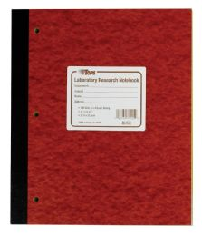 """5 of Tops Laboratory Research Notebook, 11"""" X 9-1/4"""", Quad Rule ( 4 X 4 Front), White Paper, Red Pressboard Cover, 100 Sheets Per Book"""