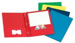 100 of Tops Leatherette Two Pocket Portfolio, Fasteners, Assorted Colors, 25 Pack