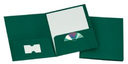 125 of Tops Leatherette Two Pocket Portfolio, Hunter Green, 25 Pack