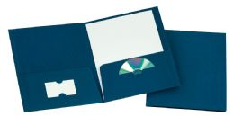 125 of Tops Leatherette Two Pocket Portfolio, Navy, 25 Pack