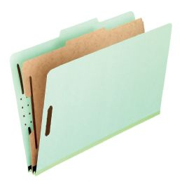 "5 of Classification Folders - Standard, 1 Divider, 2"" Embedded, Lgl, Light Green, 10/bx"