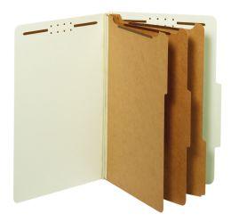 5 of Classification Folders, Standard, 3 Dividers, Embedded Fasteners, 2/5 Cut Tab, Light Green, Legal, 10/bx, 5 Bx/ct
