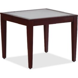 Lorell Glass Top Mahogany Frame Table