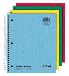 24 of Tops Oxford 3 Subject Notebook, 11 X 8.872, College Ruled, Assorted, 150 Sheets