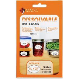 Maco Dissolvable Label, Small Oval