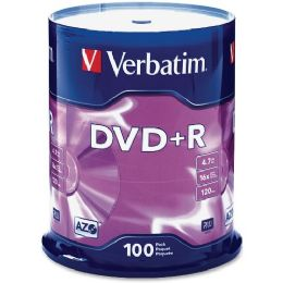Verbatim 95098 Dvd Recordable Media - Dvd+r - 16x - 4.70 Gb - 100 Pack Spindle