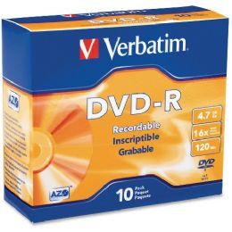 Verbatim 95099 Dvd Recordable Media - DvD-R - 16x - 4.70 Gb - 10 Pack Slim Case