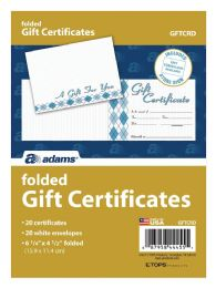 8 of Adams Card, Folded Gift Certificate, 20 Cards And Envelopes Per Pack