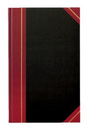 """4 of Adams Record Book, Black Cover, Maroon Spine, 11-5/8"""" X 7-1/4"""", 300 Pages,"""