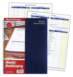 """12 of Adams Weekly Bookkeeping Record Book, Spiral Bound, 8-1/2"""" X 11"""""""