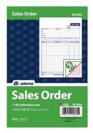 "8 of Sales Order Book, 3-Part, Carbonless, 5-2/3"" X 8-1/2"", 100/pk"