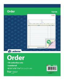 "5 of Order Book, 3-Part, Carbonless, 8-3/8"" X 10-11/16"", 50 St/bk"