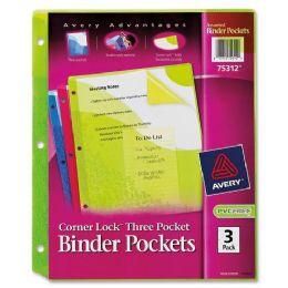 120 of Avery Corner Lock Three Pocket Binder Pockets 75312, Assorted, Pack Of 3