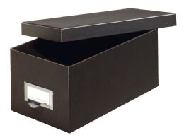 """6 of Fiberboard Index Card Storage Boxes, 3"""" X 5"""" Card Size, Solid Black"""