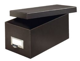 """6 of Fiberboard Index Card Storage Boxes, 4"""" X 6"""" Card Size, Solid Black"""