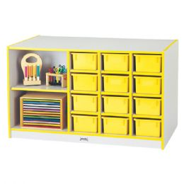 Rainbow Accents Mobile Storage Island - With Trays - Yellow