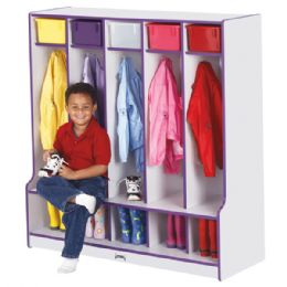 Rainbow Accents 5 Section Coat Locker With Step - Purple