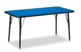 "Berries Rectangle Activity Table - 24"" X 48"", A-Height - Blue/black/black"