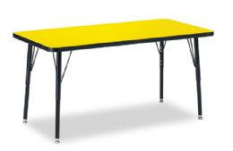"Berries Rectangle Activity Table - 24"" X 48"", A-Height - Yellow/black/black"