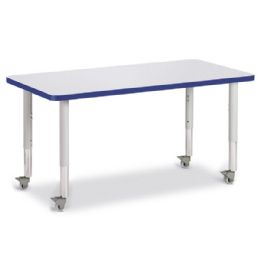 "Berries Rectangle Activity Table - 24"" X 48"", Mobile - Gray/blue/gray"