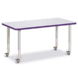 "Berries Rectangle Activity Table - 24"" X 48"", Mobile - Gray/purple/gray"