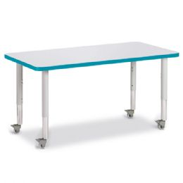 "Berries Rectangle Activity Table - 24"" X 48"", Mobile - Gray/teal/gray"