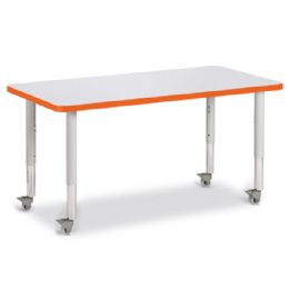 "Berries Rectangle Activity Table - 24"" X 48"", Mobile - Gray/orange/gray"