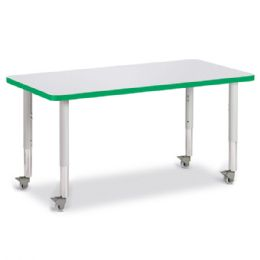"Berries Rectangle Activity Table - 24"" X 48"", Mobile - Gray/green/gray"