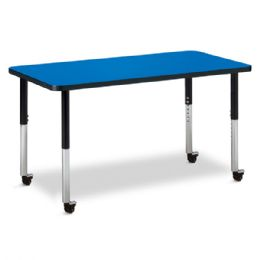 "Berries Rectangle Activity Table - 24"" X 48"", Mobile - Blue/black/black"