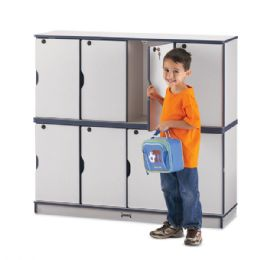 Rainbow Accents Stacking Lockable Lockers - Double Stack - Blue