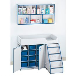Rainbow Accents Diaper Changer Combo - Right - Blue