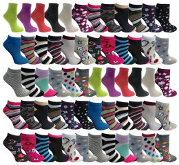 60 of Assorted Pack Of Womens Low Cut Printed Ankle Socks Many Prints Assorted