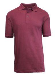 36 of Boys Cotton Blend Short Sleeve School Uniform Polo Shirt - Solid Burgundy Size 10