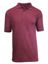 36 of Boys Cotton Blend Short Sleeve School Uniform Polo Shirt - Solid Burgundy Size 20