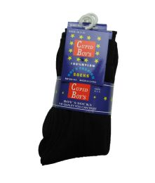 144 of Boys Nylon Dress Socks, Boys Uniform Socks, Solid Black Size L