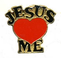 "96 of Brass Hat Pin, ""jesus (loves) me"