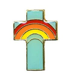 96 of Brass Hat Pin, Rainbow Cross,