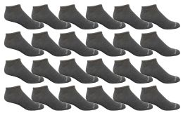 24 of Bulk Pack Men's Cotton Light Weight Breathable No Show Loafer Socks, Solid Gray Size 10-13