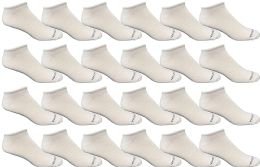 24 of Bulk Pack Men's Cotton Light Weight Breathable No Show Loafer Socks, White Size 10-13