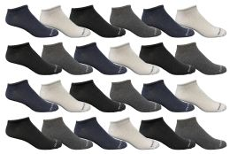 24 of Bulk Pack Men's Light Weight Breathable No Show Loafer Socks, Solid Assorted 4 Colors Size 10-13