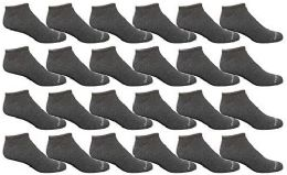 24 of Bulk Pack Womens Light Weight No Show Low Cut Breathable Socks, Solid Dark Heather Size 9-11