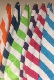 12 of Cabana Stripe 100% Beach Towels Assorted Colors Size 32x65