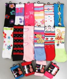 120 of Girls Acrylic Tights With Print Size Medium