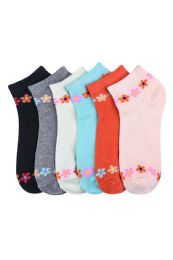 432 of Girls Printed Casual Spandex Ankle Socks Size 9-11 Daisy Chain
