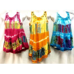 12 of Girls Rayon Tie Dye Dress With Sequins Size Large