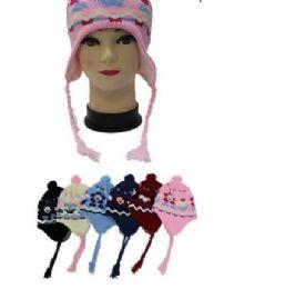 96 of Kids Flower Printed Helmet Winter Hat